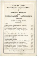 Kemmel September 1953 Augustus 1954 Gedachtenis Overleden Parochianen - Décès