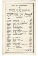 Kemmel September 1947 Augustus 1948 Gedachtenis Overleden Parochianen - Décès