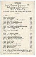 Kemmel September 1960 Augustus 1961 Gedachtenis Overleden Parochianen - Décès
