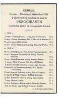 Kemmel September 1961 Augustus 1962 Gedachtenis Overleden Parochianen - Décès