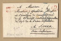Lettre Avec Correspondance MP 60 P.P Bureau Postes Chambre Des Pairs De Paris 6/7/1833 Vers Rouen - 1801-1848: Précurseurs XIX
