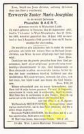 DP EZ Pharaïlde Baert - Moeder Overste Wijtschate Linde Zr. M. Josephine ° Beveren 1871 † Klooster West-Nieuwkerke 1944 - Images Religieuses