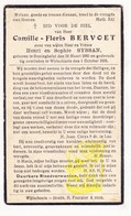DP Camille F. Bervoet / Syssan ° Reningelst Poperinge 1880 † Wijtschate Heuvelland 1936 - Images Religieuses