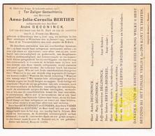 DP Anna J. Bertier 29j. ° Elverdinge Ieper 1914 † Wijtschate Heuvelland 1944 X A. DeConinck / Bruneel Lefebvre Werquin - Images Religieuses