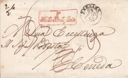 DS06 - PONTIFICIO - Lettera Con Testo Del 1853 Da Ferrara A Ceneda, , Tassata 9 Kreuzer In Arrivo - Etats Pontificaux