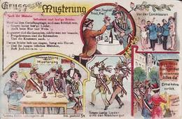 AK Gruss Von Der Musterung - Infanterie Sind Lust'ge Brüder - Soldat - Patriotika - 1918 (39736) - War 1914-18
