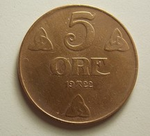 Norway 5 Ore 1922 - Norvège