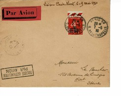 AVIATION , PARIS NIORT , CACHET PAR AVION EXCEPTIONNELLE LE 07-5-1930 - Covers & Documents