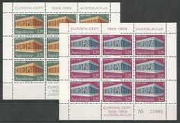 Yugoslavia Yougoslavie Jugoslawien Mi.1361/62IKB In Sheetlets Of 9 First Issue MNH / ** 1969 Mi: 45,00€ Europa - Europa-CEPT