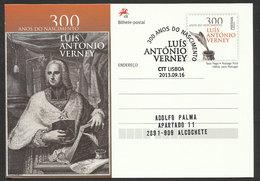 Portugal Entier Postal 2013 Illuministe Luis António Verney Philosophe Théologien Cachet Premier Jour Postal Stationery - Entiers Postaux