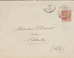 LSC 1901 - Cachet PARIS - GARE Du SUD OUEST Sur YT 117 - Au Dos Cachets CAHORS Et BETAILLE - Postmark Collection (Covers)