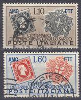 TRIESTE ZONA A - 1951 - Lotto Di Due Valori Usati: Yvert 122 E 124. - Gebraucht