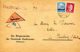Lettre Contre Remboursement De Trois-Fontaines Pour Sarrebourg, Daté Du 02/12/1941 - Elzas-Lotharingen