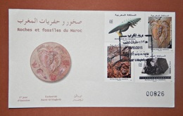 MOROCCO MARRUECOS  MAROC TIMBRES  ENVELOPPE  FDC COVER ROCHES ET FOSSILES DU MAROC - Marruecos (1956-...)