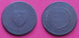 UK 1814 WORCESTER Token 1 Penny Bronze - Monétaires/De Nécessité