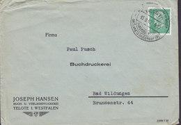 Germany Deutsches Reich JOSEPH HANSEN Buch-u. Verlagsdruckerei TELGTE I. Westfalen 1932 Cover Brief BAD WILDUNGEN - Allemagne