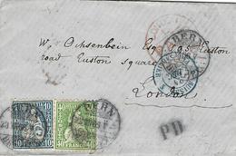 1866- Petite Env. De BERN Pour London Affr. Zumstein N°31 Et 34 Entrée Bleue 3 SUISSE 3 PONTARLIER - 1862-1881 Sitzende Helvetia (gezähnt)