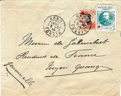 1916- Enveloppe D'HANOI  ( Tonkin ) Affr. N° 65 Croix Rouge + Vignette Croix Rouge Gal Langle De Cary - Indocina (1889-1945)