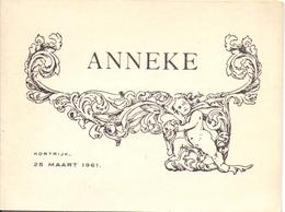 Geboortekaartje Carte De Naissance - Anneke Van Den Bulcke - Kortrijk 1961 - Naissance & Baptême