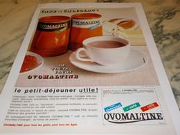 ANCIENNE  PUBLICITE CAFE OU CHOCOLAT  OVOMALTINE 1965 - Affiches