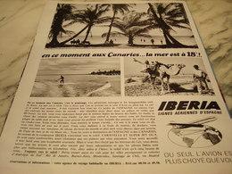 ANCIENNE PUBLICITE LA MER EST A 18 DEGRES LIGNE AERIENNE IBERIA 1965 - Publicités