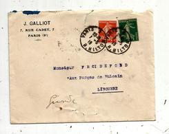 Lettre ,1918 , PARIS 2 , R. MILTON , 2 Scans ,J. Galliot , 7 Rue  Cadet , Paris 9 E - 1877-1920: Période Semi Moderne