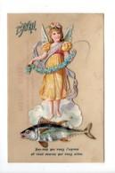 1er AVRIL . ANGE, ANGELOT, ANGELETTE . DÉCOUPIS SUR CARTE EN CELLULOÏDE - Réf. N°20439 - - April Fool's Day