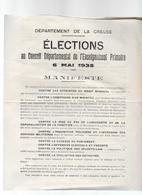 Département De La Creuse - Elections Au Conseil Départemental De L'Enseignement Primaire 6 Mai1935 4 Pages - Old Paper