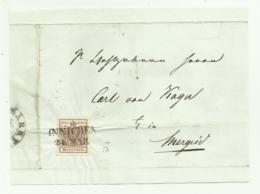 FRANCOBOLLO 6 KREUZER INNICHEN 1857 SU FRONTESPIZIO - Usati