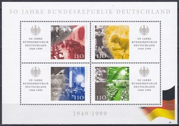 Deutschland Germany BRD 1999 Geschichte History Bundesrepublik Federal Republic Parlament Mauer Wall, Bl. 50 ** - [7] Repubblica Federale