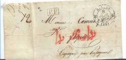 FP015 ( Frankreich, Rugles 1837, PP Nach Spanien Mit Tacstempel 4 Rs,4 - Poststempel (Briefe)