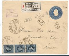 Arg004 / Argentinien, Ganzsache + 3-er Streifen, Frankatur Nach Frankreich 1899 - Argentinien