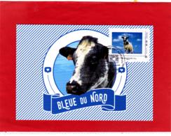 Timbre Du Collector Sur Carte Postale Vache Imminence, Bleue Du Nord, Obl 23/02/19 Du Salon De L'Agriculture 2019 - 2010-...