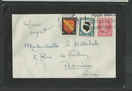 Paris , Blason Alsace Et Corse + Cerse N° 756 + 755a + 676 Sur Enveloppe De Deuil Du 10 11 1947 - Postmark Collection (Covers)