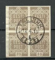 ESTLAND Estonia 1919 Michel 3 As 4-block O Tallinn - Estonie
