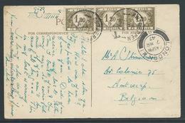 Kaart Verstuurd Uit Londen Naar Antwerpen 7.3.1947 En Getaxeerd - Taxes