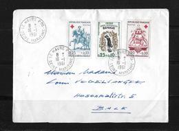 1961 Frankreich →  Michel 1329-31 Sur Lettre En Bale/Suisse - France