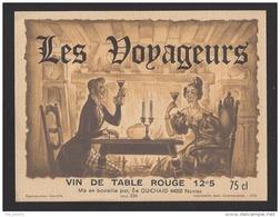 Etiquette De Vin De Table Rouge -  Les Voyageurs    - Thème Couple -   Ets Guichard  à  Nantes  (44) - Coppie