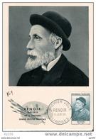 Carte Maximum : Renoir Né à Limoges, Mort à Cagnes  - Peintre  - YT 1032 Obl Premier Jour Le 11 VI 1955 - Cartes-Maximum