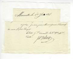Général Jean Antoine Verdier (1767-1839) EMPIRE AUTOGRAPHE ORIGINAL AUTOGRAPH JUIN 1815 EMPIRE MARSEILLE CENT-JOURS - Autographes