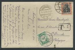 Kaart Verstuurd Uit Leichlingen Op 1.6.1920 Naar Oostende En Getaxeerd - Taxes