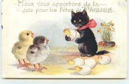 Nous Vous Apportons De La ... Joie Pour Les Fêtes De Pâques - Chat Noir Et Poussins - Chats