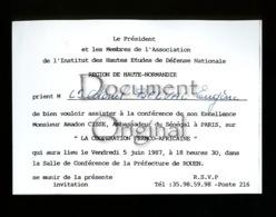 Piece D Antan - Militaria - Corresp. - Conference - 5 Juin 1987 - ¨Prefecture De Rouen - Militaria