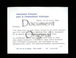 Piece D Antan - Militaria - Corresp. - Assoc Francaise Pour La Communaute Atlantique - 24 4 1986 - Paris - Autres