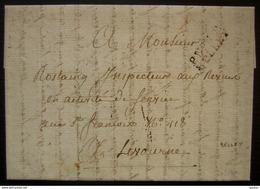 Belley, (Ain)  Port Payé P N°1 P/ BELLEY Sur Une Jolie Lettre Pour Livourne (Italie), Cachet D'arrivée Livorno Au Revers - Marcophilie (Lettres)
