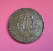 GRAN BRETAGNA  - ENGLAND  1963  Moneta 1/2 PENNY Elisabetta II - 1971-… : Monete Decimali