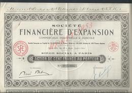 ACTION SOCIÉTÉ FINANCIÉRE D EXPANSION INDUSTRIELLE & AGRICOLE : - Banque & Assurance