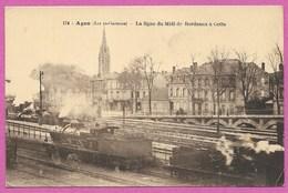 47 Lot Et Garonne AGEN Train Vapeur Ligne Du Midi Bordeaux Cette ( Sete ) Chemin De Fer - Agen