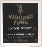 Etiquette Scotch Whisky    -  Highland Fling  -  Ecosse - Whisky