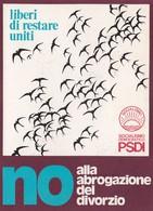 SOCIALISMO DEMOCRATICO (PSDI)  /  Ministero Dell'Interno - Servizio Postale _ Viaggiata - Partiti Politici & Elezioni